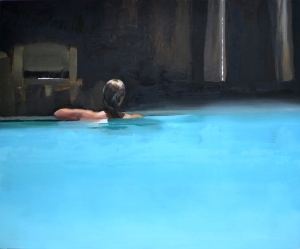 B bathing- oil on panel - 50 x 60 cms