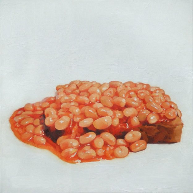"baked beans on toast, Oil on Canvas, 16"" x 16"". (SOLD)"