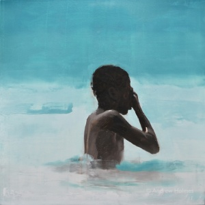 boy bathing V - oil on panel - 40cm sq