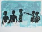 bathers sketch IV. charcoal &acrylic on layered mylar. 31cm x 41cm