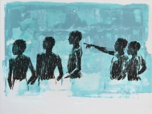 bathers sketch IV. charcoal & acrylic on layered mylar. 31cm x 41cm