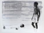 bathers sketch VI, charcoal & acrylic on layered mylar, 31cm x 41cm