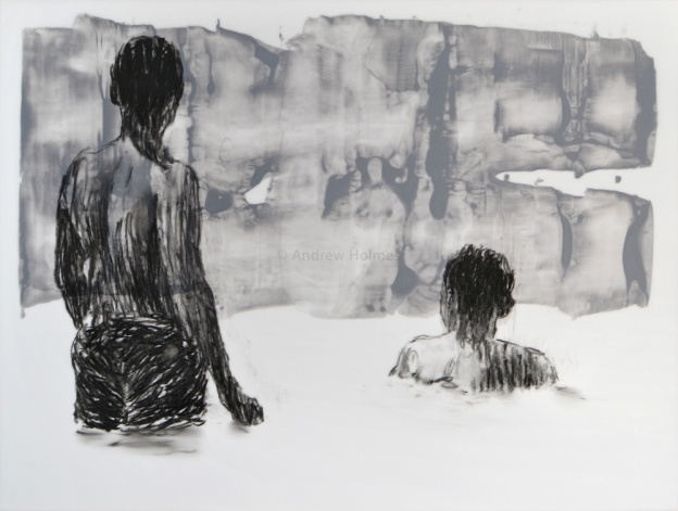 bathers sketch VII, Charcoal and acrylic on layers of mylar, 31cm  x 41cm
