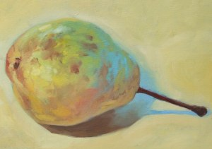 Pear - oil on canvas board.