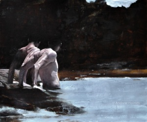 rock pool bathers - oil on panel - 50cm x 60cm