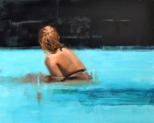 Em bathing, oil on panel, 40cm x 50cm. (Sold)