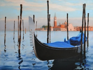 Gondolas and mooring posts - oil on canvas - 60cm x 80cm