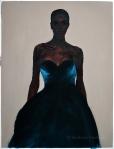 Girl in blue - oil on paper -76cm x 58cm