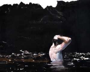 Rock pool boy - oil on panel - 40 cm x 50 cm