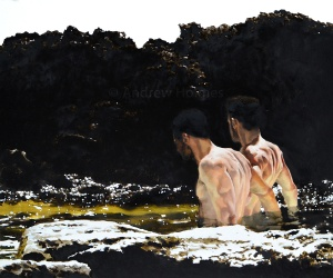 Rock Pool Boys - oil on panel - 50cm x 40 cm