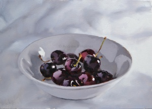 morning cherries - 33 x 46cm - oil on canvas (Sold)