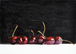 cherries row - 33 x 46cm - oil on canvas (sold)
